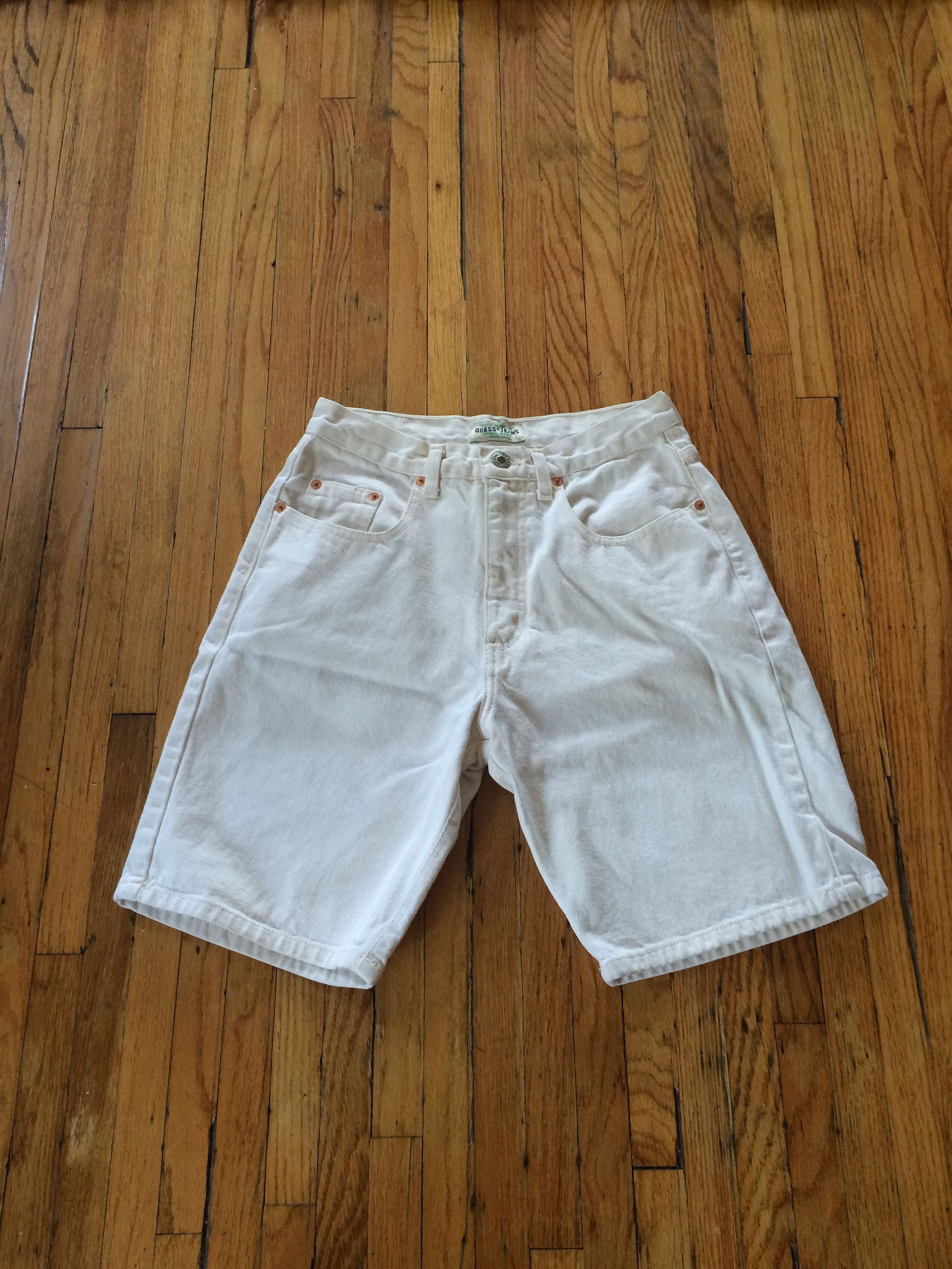 034a6a09fa Vintage Guess Off White Colored High Waist Denim Jean Shorts (90's) by  VintageVanShop on Etsy
