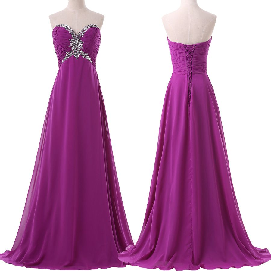Build in bra strapless prom dresses women formal gowns purple