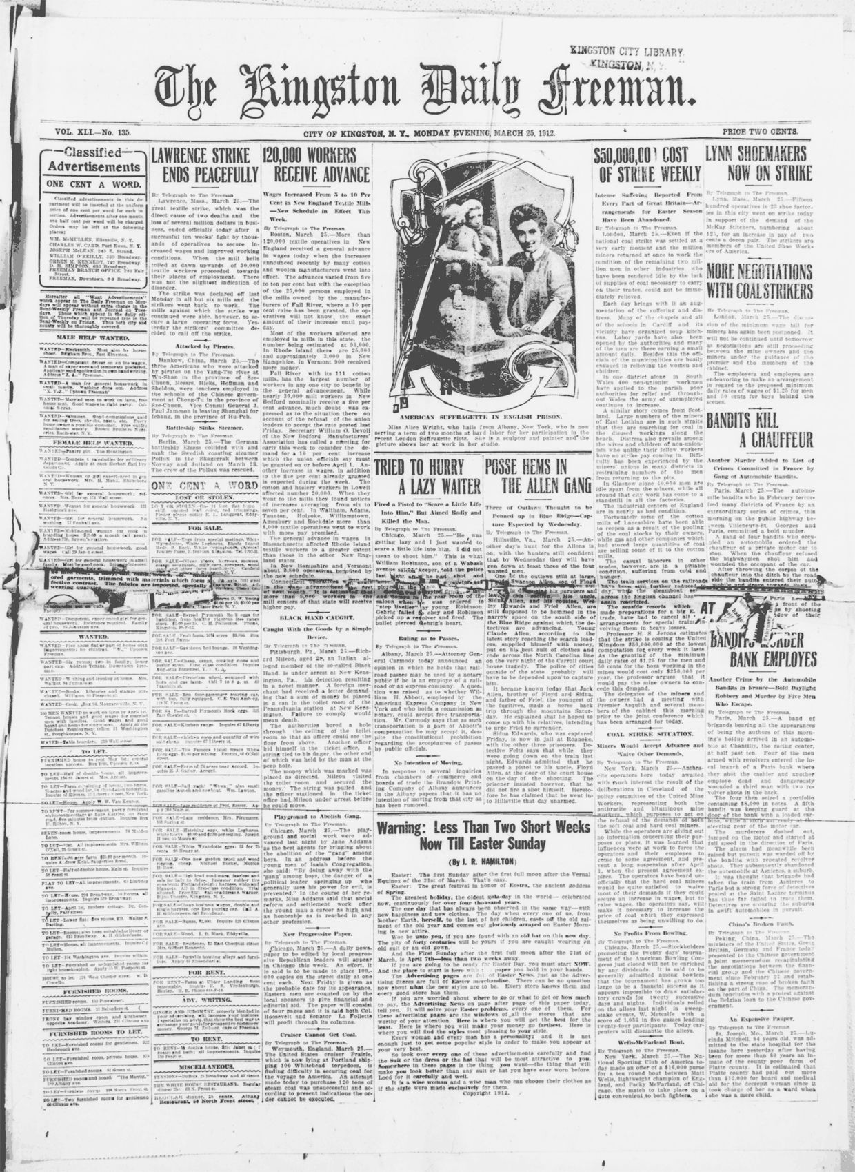 Daily Freeman, March 25, 1912   Old front pages   Lifetime