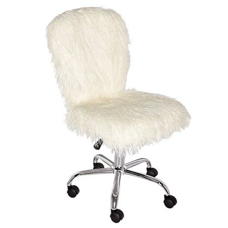 Linon Adjustable Height Faux Fur Task Chair Walmart Com Office Chair White Office Chair Art Chair