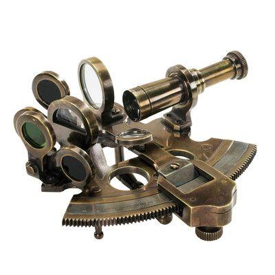 Alcott Hill Azariah Pocket Sextant Decorative Telescope Wayfair Bronze Authentic Models Coastal Accessories