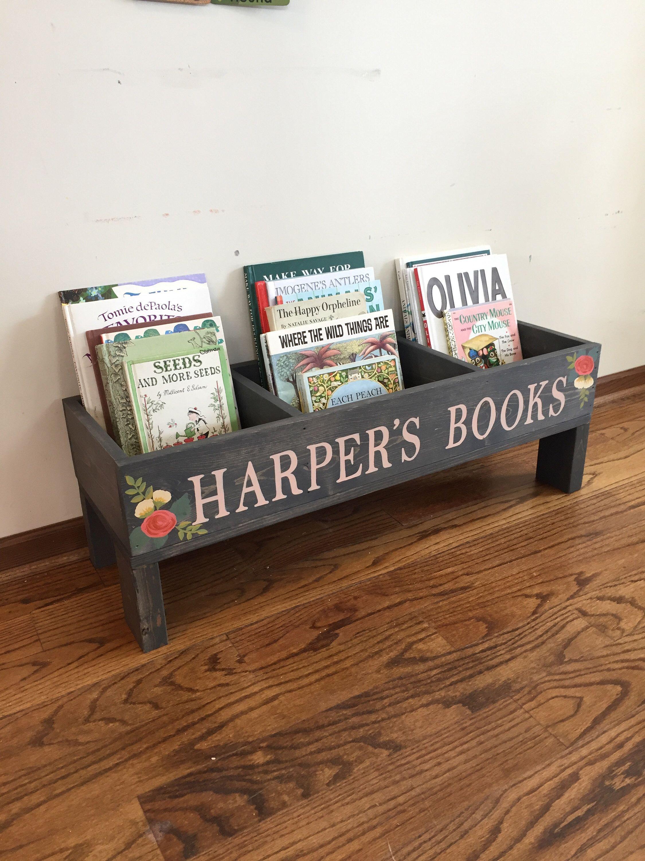Kids Bookshelf Book Storage Bin Book Shelf Rustic Bookshelves Kids Rustic Nursery Decor Wood Toy Box