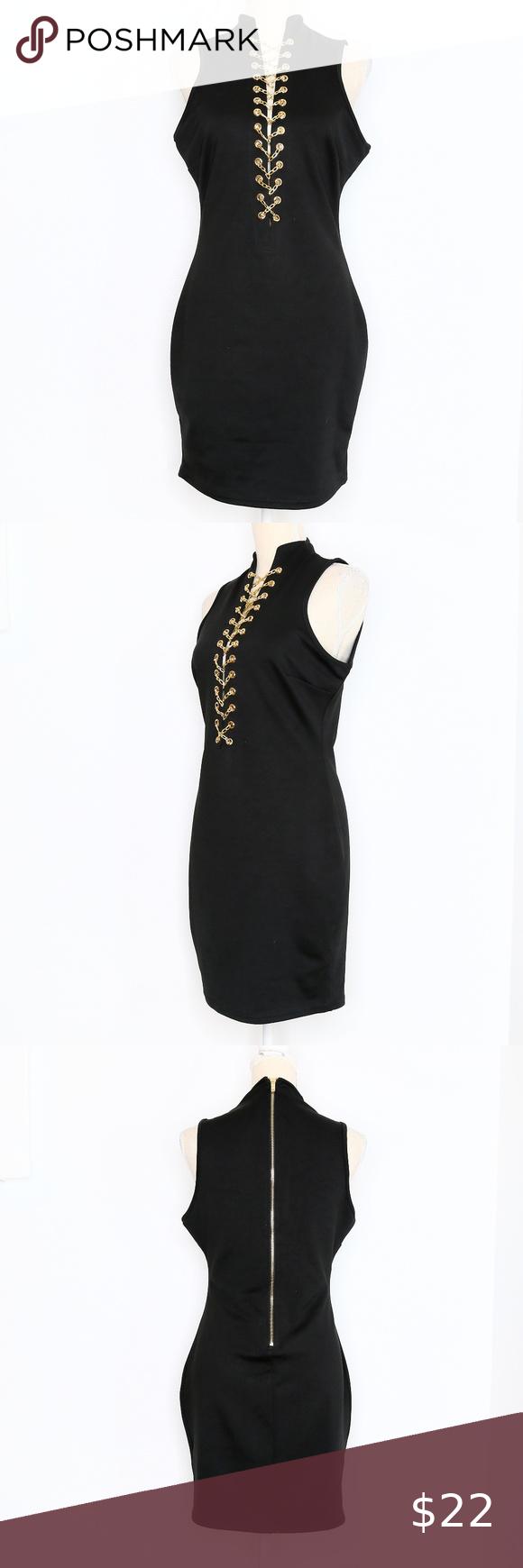 Black High Neck Mini Dress Gold Chain Cross Front High Neck Mini Dress High Neck Black Dress Gold Dress [ 1740 x 580 Pixel ]