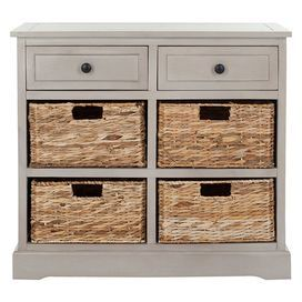 2 Drawer Pine Storage Chest With 4 Wicker Baskets. Product:  ChestConstruction Material:
