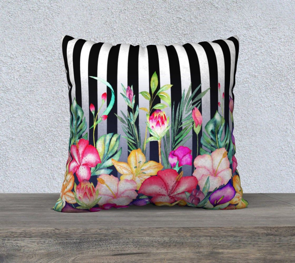 striped watercolor garden cushion cover