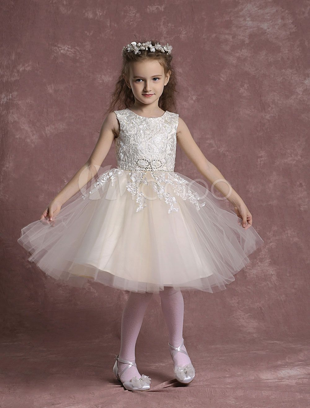 Champagne flower girl dresses tulle lace pageant dresses