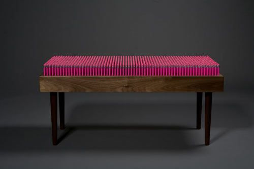 Pencil Bench created by Boex. The bench is made of 1,600 individually-placed pencils  each can be removed and used if necessary.