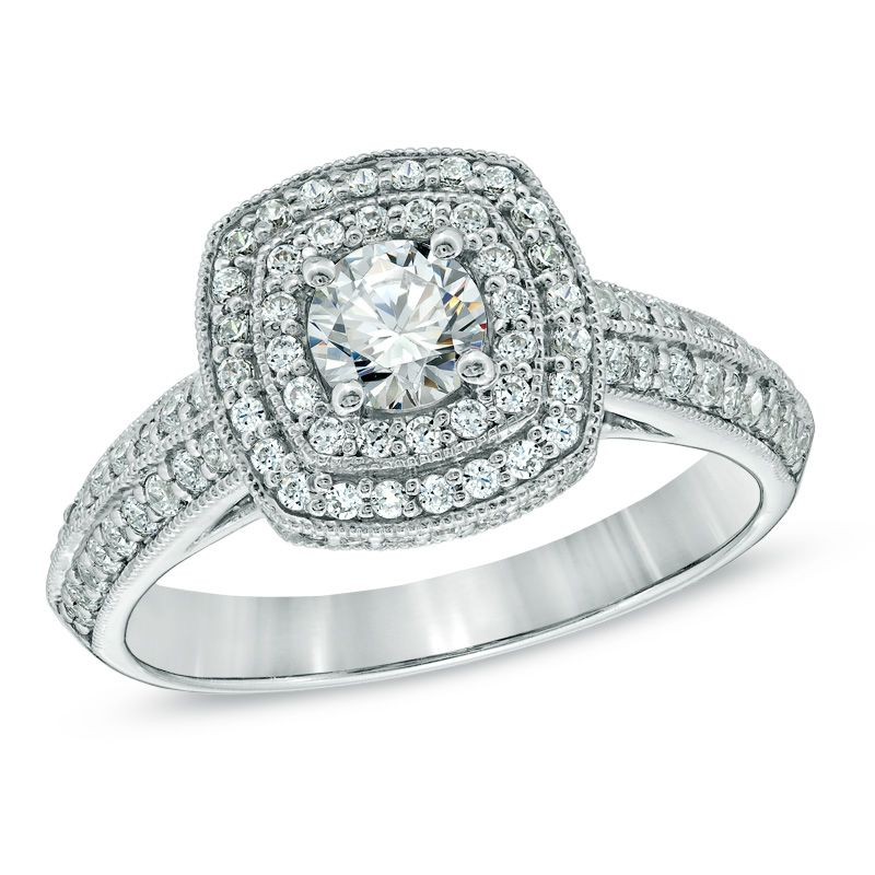 1 ct tw diamond double cushion frame engagement ring in