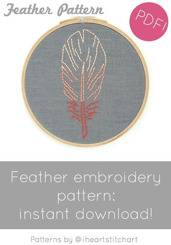 Feather embroidery pattern hand embroidery pattern diy feather feather embroidery pattern hand embroidery pattern diy feather embroidery tutorial i heart stitch art iheartstitchart diy hoop art dt1010fo
