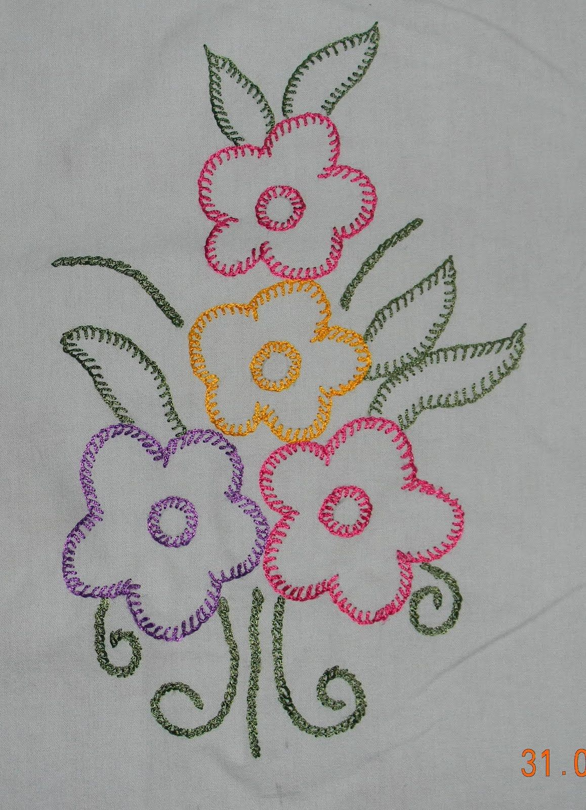Hand Embroidery Stitches | ... Stitch Pattern Of Hand Embroidery And Open Chain Stitch As Well ...