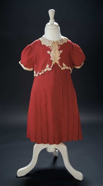 """Love, Shirley Temple, Collector's Book: Lot # 327 Red Silk Polka Dot Dress Worn by Shirley Temple in the 1938 Film """"Little Miss Broadway"""""""