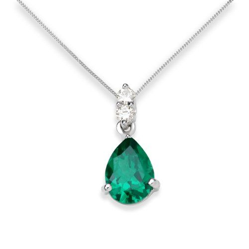 Up to 70 off selected may birthstone emerald jewellery http miore 9 ct white gold ct si diamond with created emerald pendant necklace with 42 cm extender aloadofball Gallery