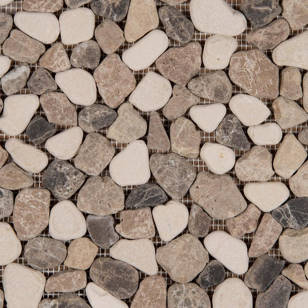 Msi Mix Marble Pebbles 11 42 In X 11 42 In X 10mm Tumbled Marble Mesh Mounted Mosaic Tile 9 1 Sq Ft Case Peb Mixmar Ceramic Wall Tiles Mosaic Tiles Stone Tiles