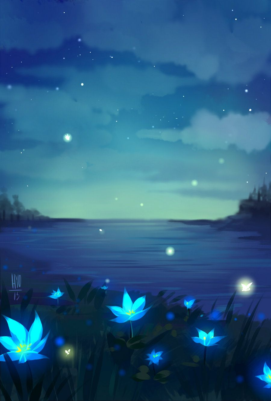 There Are Blue Flowers On The Shore Beautiful Wallpapers Backgrounds Scenery Wallpaper Fantasy Art Landscapes Coolest anime flower wallpaper