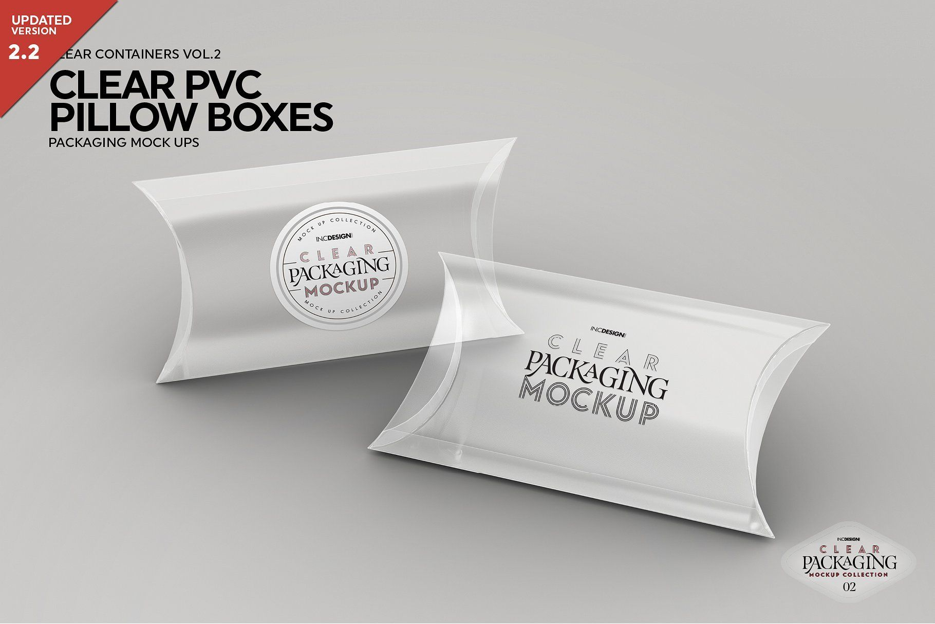 Clear Pillow Boxes Packaging Mockup Packaging Mockup Clear Container Pillow Box