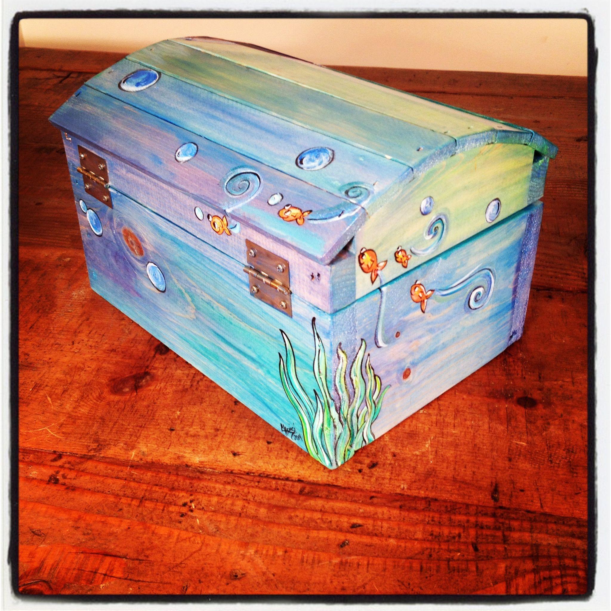 Treasure Chest Ocean Hand Painted Wooden Box Girls Toy Box Treasure Chest