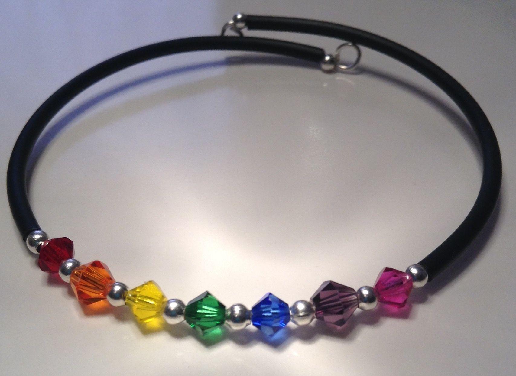 LGBT memory wire bracelet with Swarovski crystals
