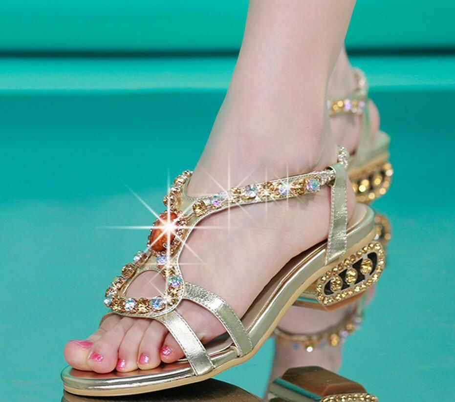 987d969126 Slippers Women Summer Fashion Lolita Style Solid Color Of Diamond Sandal
