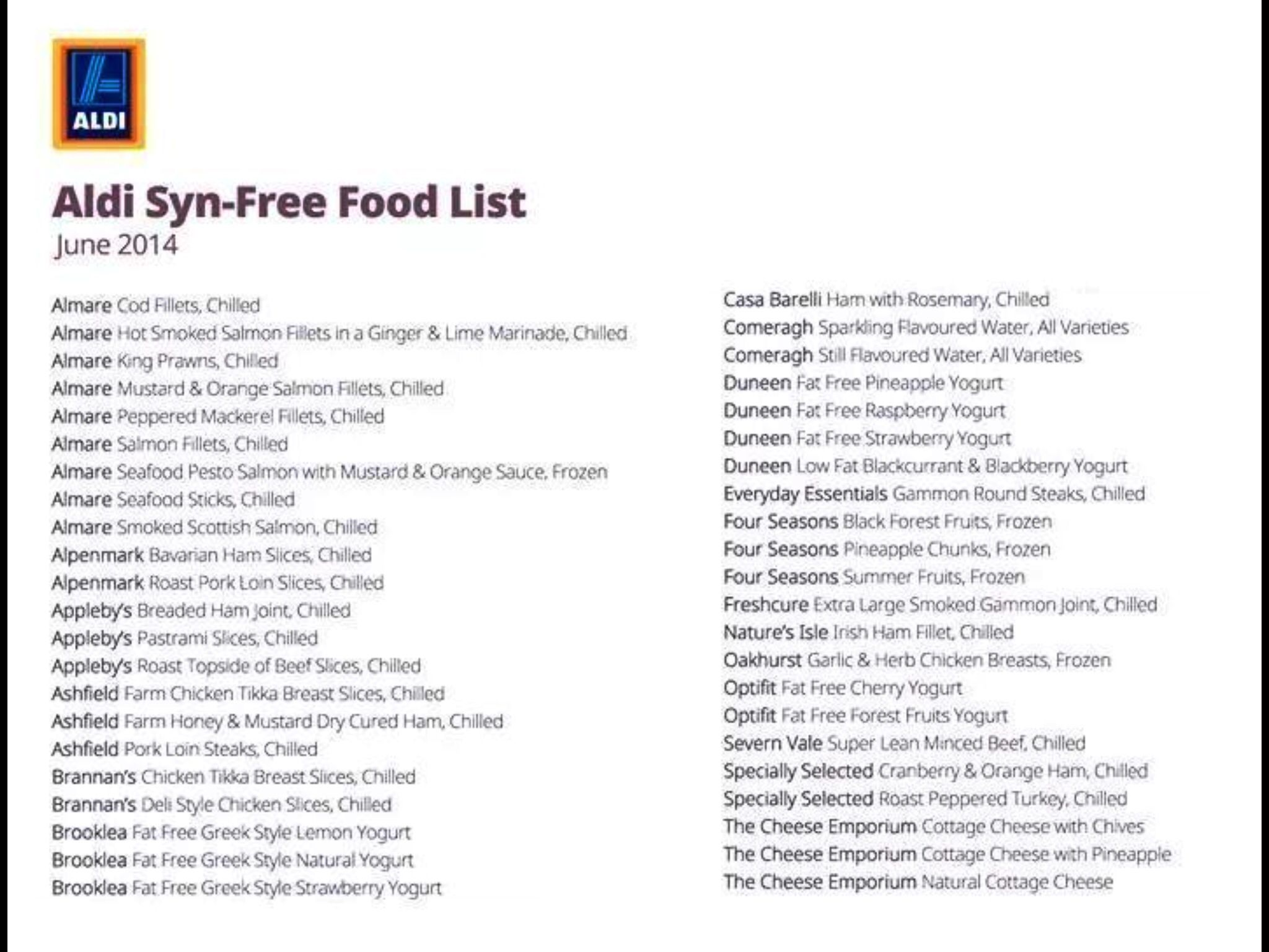 Slimming World Aldi Syn Free Food List Slimming World