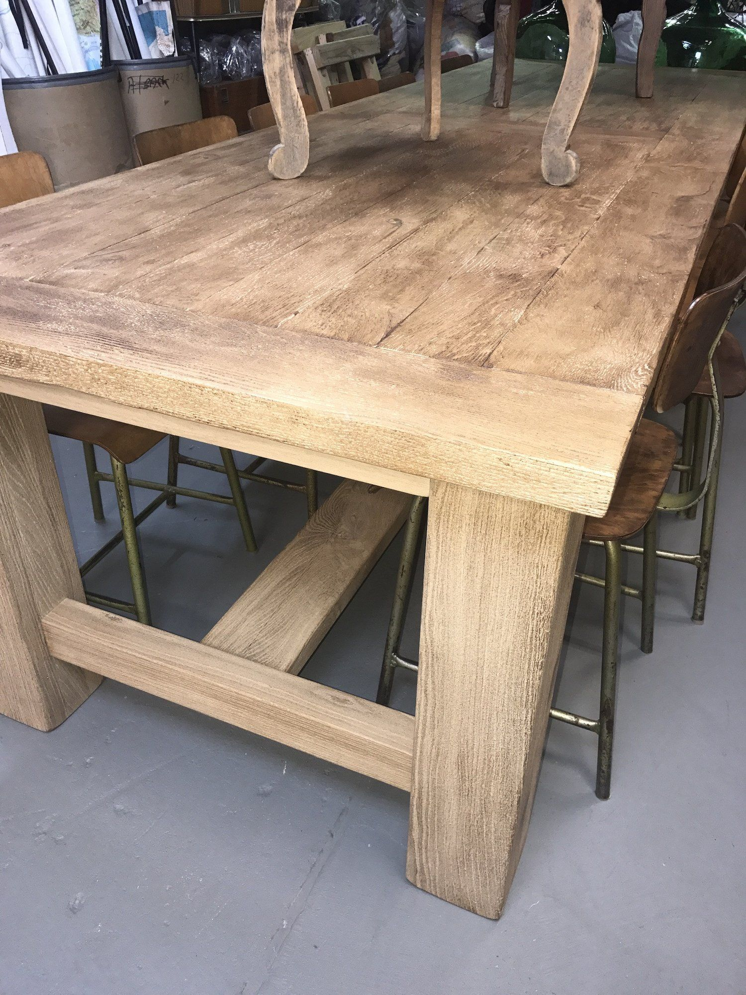 French kitchen table  Vintage industrial French oak kitchen table  industrial tables