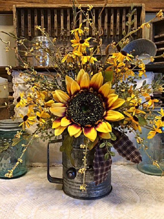Sunflower Vintage Flour Sifter Arrangement Reserved Listing For Sharon Primitive Kitchen Decor Primitive Decorating Country Sunflower Kitchen Decor