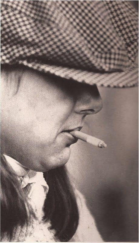 Princess Caroline of Monaco smoking in hat,1977.