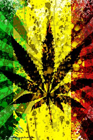 Psychedelic Herbal Weed Rasta Marijuana Leaf