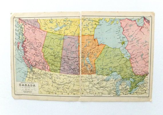 1934 Map Of Canada Vintage Canada Map Phillips Atlas Central And