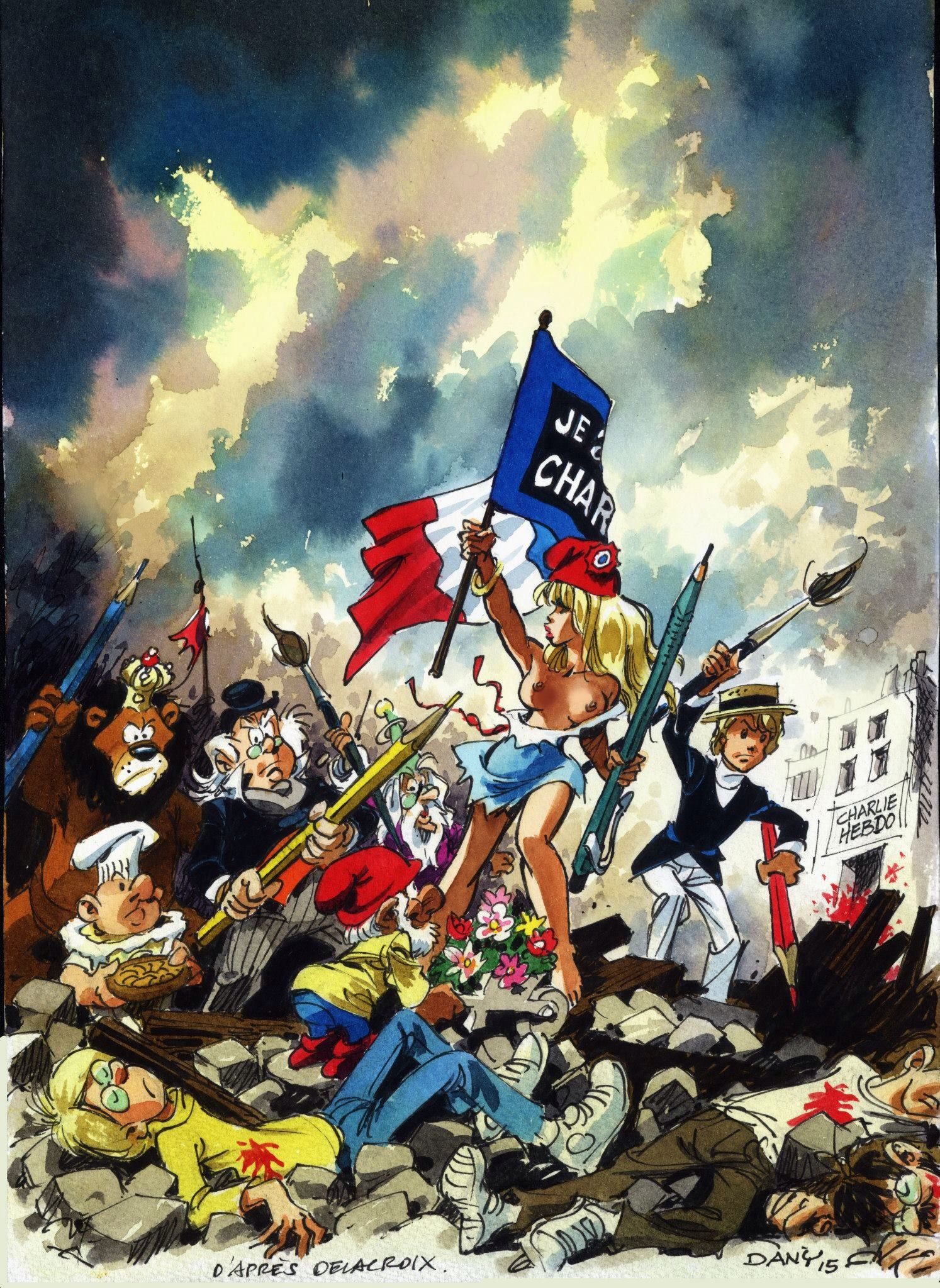 L Hommage De Dany Jesuischarlie Art Parody Liberty Leading The People Drawing Illustrations