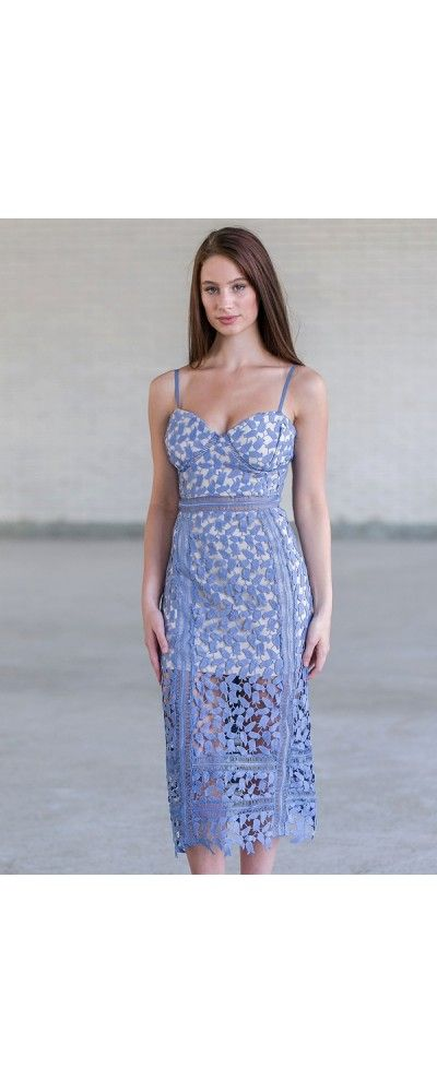 063884a5fdc Lily Boutique Something Blue Crochet Lace Midi Dress