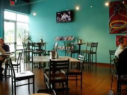 turquoise walls in a dining room