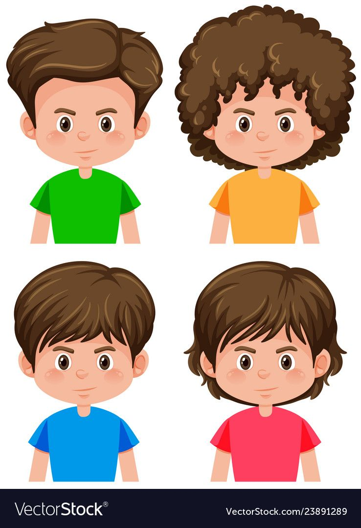 Set Of Boy Different Hairstyle Vector Image On