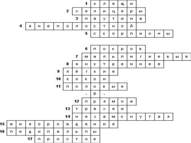 Кроссворд класс членистоногие