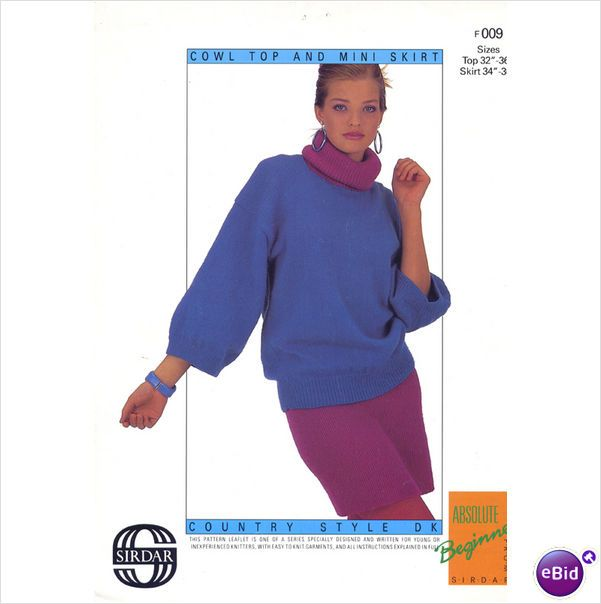 Ladies Sweater & skirt Knitting pattern for DK beginners knitting pattern #009 on eBid United Kingdom