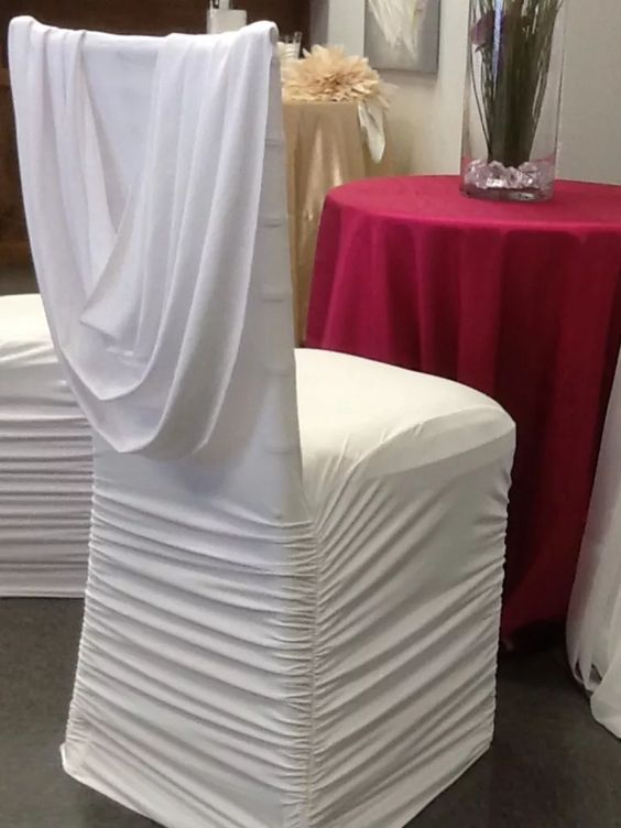 Ruched Spandex Chair Cover High Top Table And Sets White With Attached Sash 4 00 Luxe Decor Event Rentals