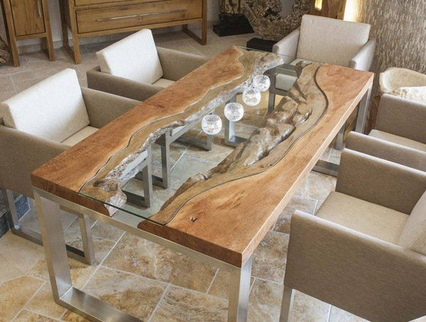 Wood slab dining table designs glass wood metal modern for Glass dining table designs