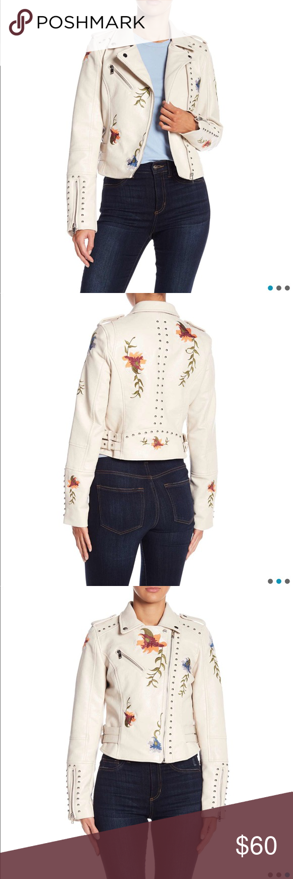 Faux Leather Off White Moto Flora Jacket Flora jackets
