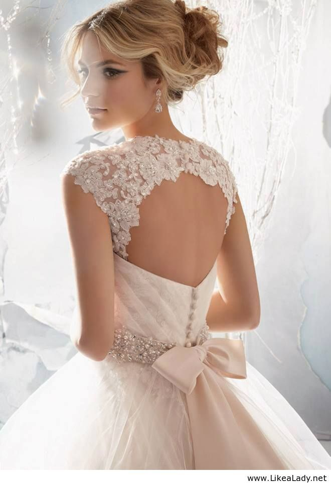 beautiful wedding dress with peals