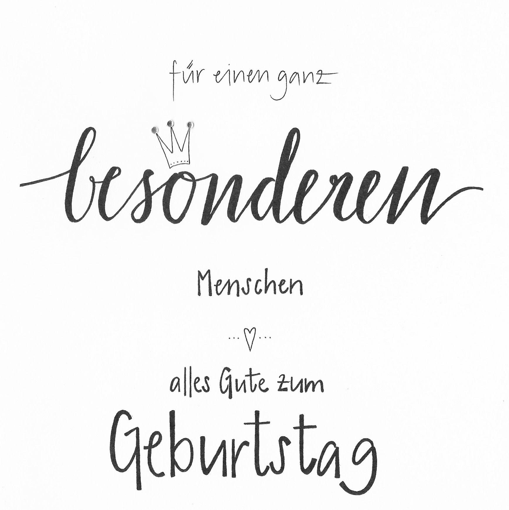 Handgehriebene Faltkarte Zum Geburtstag Mit Krone Und Glitzersteinen