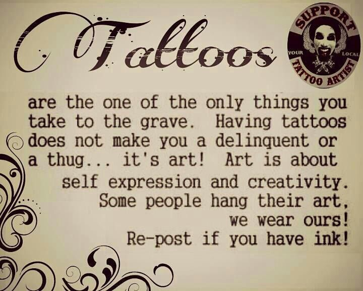 Your tattoo should speak for itself....it just depends on how well one hears its story.  If you have to ask me what it means, then that tells me I need to get another tattoo.
