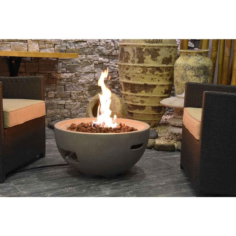 Modeno Nantucket 26 6 In Round Concrete Propane Fire Bowl In Propane In Athens Gray Ofg116 Lp The Home Depot Fire Bowls Propane Fire Bowl Fire Pit Bowl