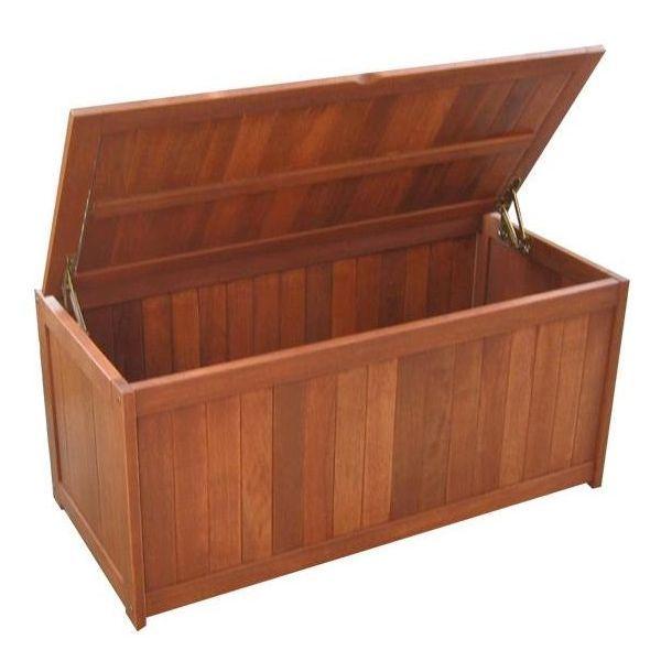 Natural Shorea Wooden Outdoor Cushion Storage Box | Buy Furniture