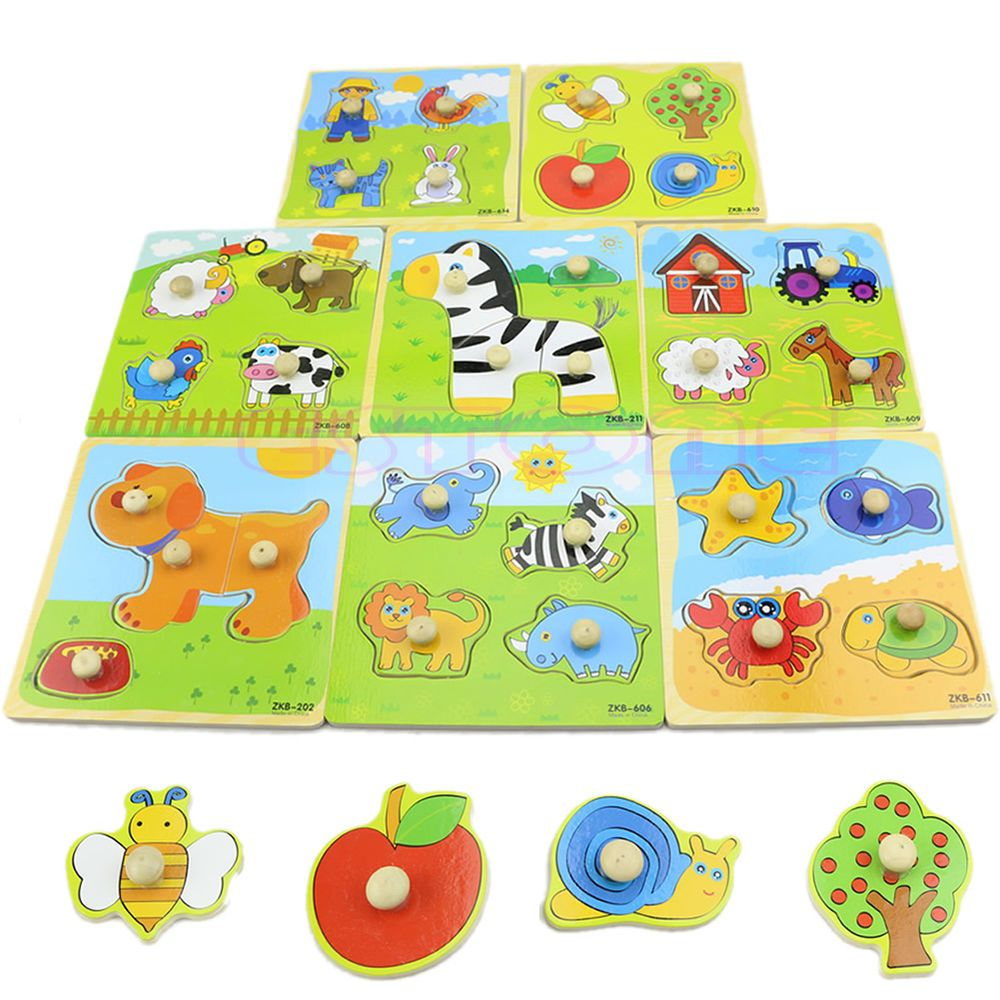 Colorful Animal Puzzle Toy For Child Toddler Educational Brick Adjustable Wooden