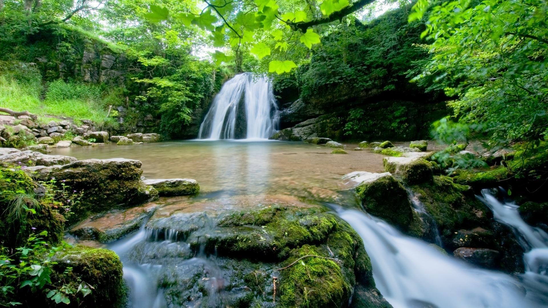 nature waterfall grotto desktop wallpaper