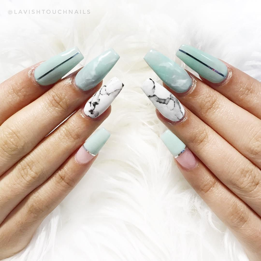Jade Marble coffin nail art design