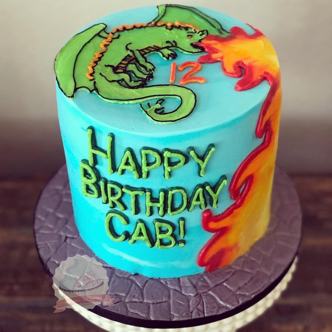 Pleasant Fire Breathing Dragon Cake Smallandsimpleconfections Funny Birthday Cards Online Alyptdamsfinfo