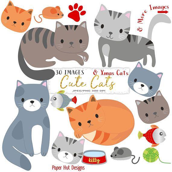 Cat Clipart Cute Cat Clip Art Kitties Clipart Kitten Etsy Cat Clipart Clip Art Cat Illustration