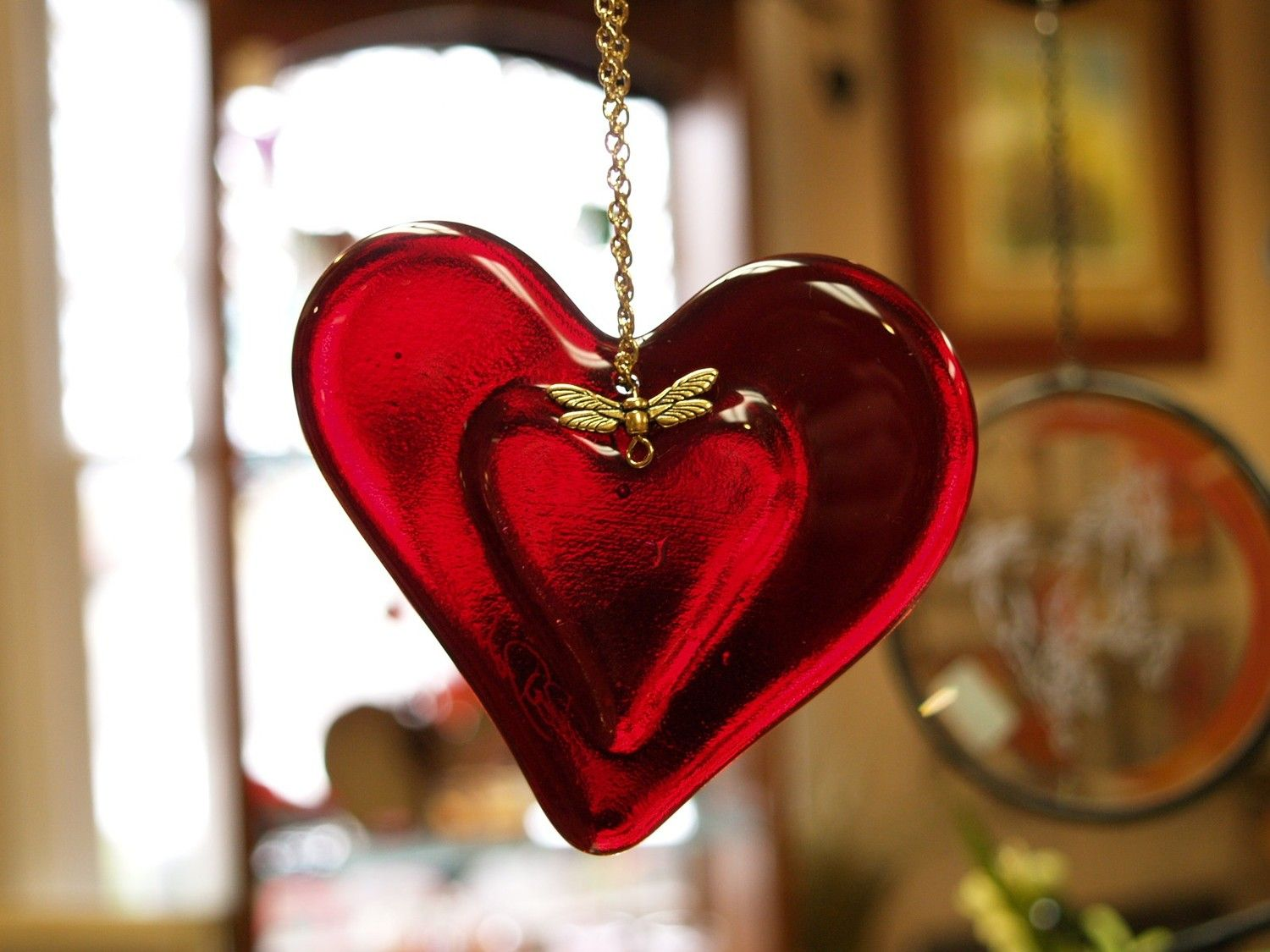 Glass heart christmas ornaments - Fused Glass Heart The Heart Within 3 1 4 X 3 1