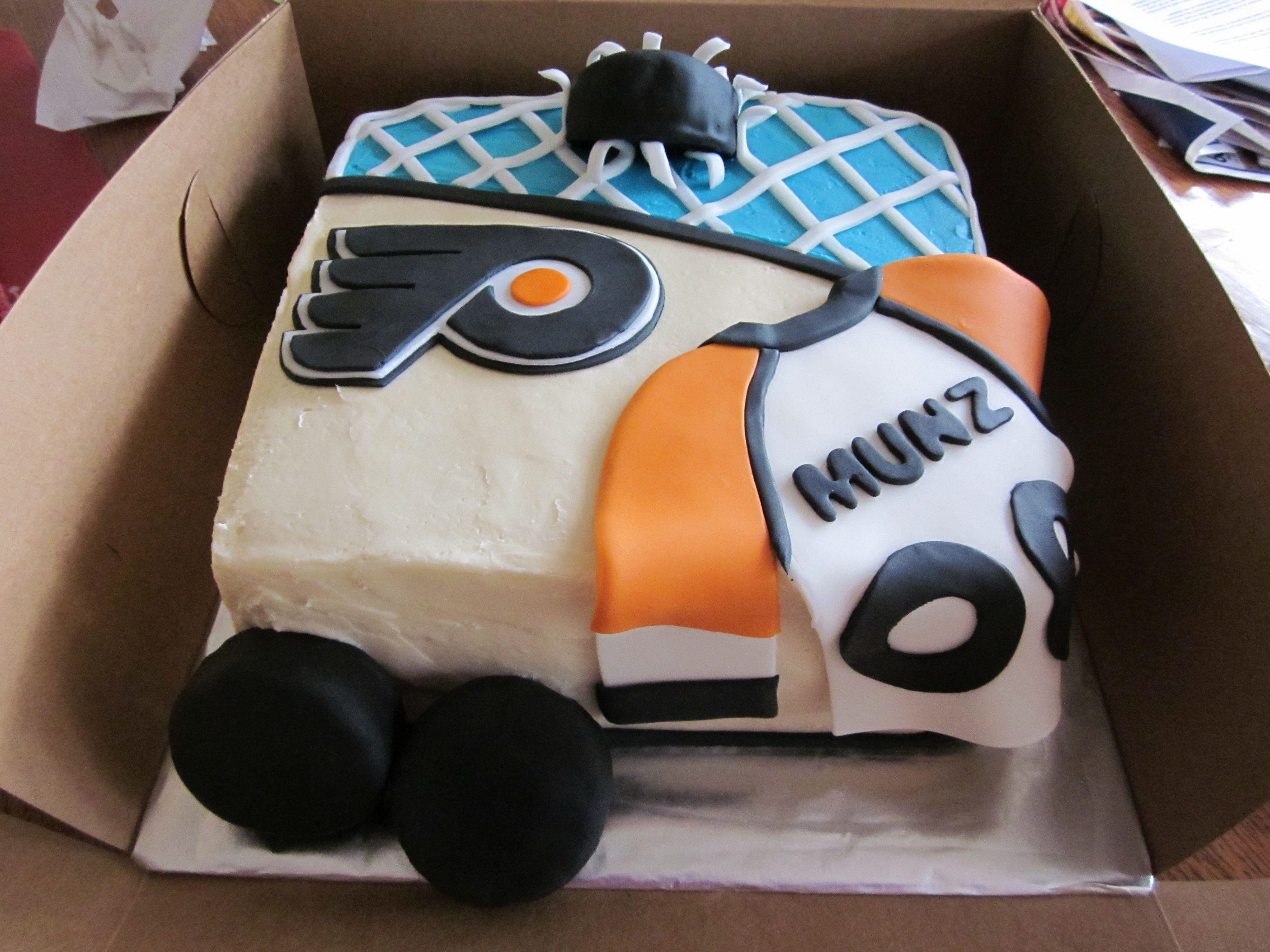 Flyers hockey cake Bday cake for my nephew a huge flyers fan