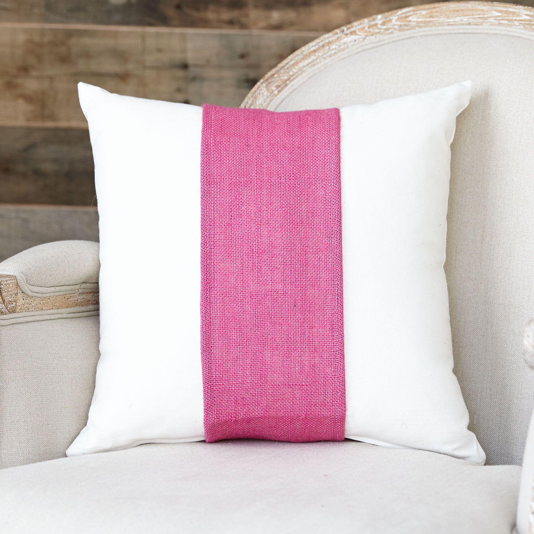 Hot pink burlap pillow band pillows burlap pillows